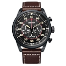CITIZEN 光動能時尚計時三眼腕錶-咖啡X黑(CA4218-14E)45mm