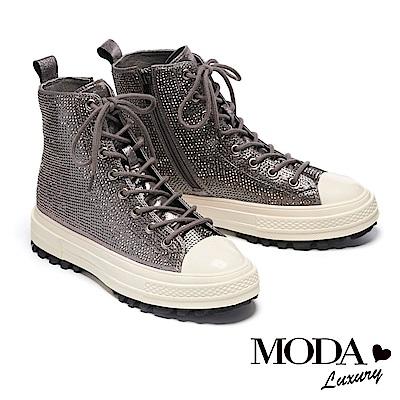 休閒鞋 MODA Luxury 極奢華水鑽側拉鍊設計綁帶厚底高筒休閒鞋-古銅