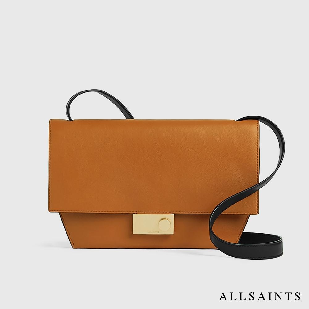 ALLSAINTS HARLEY 簡約金屬造型鎖扣牛皮斜肩背手拿包-橙棕