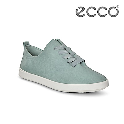 ECCO LEISURE 超柔軟牛皮緞帶休閒鞋 女-藍綠