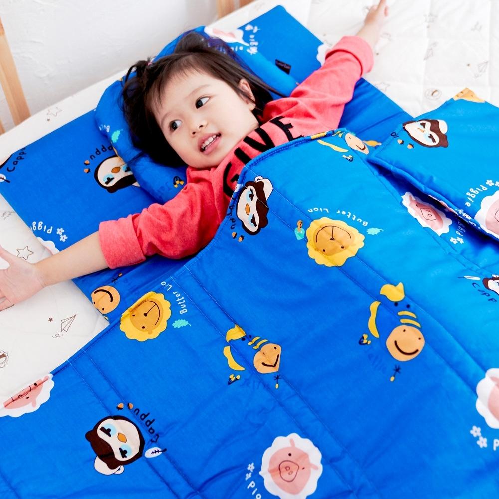 奶油獅-同樂會系列-台灣製造100%精梳純棉兒童涼被/夏被(宇宙藍)4x5尺