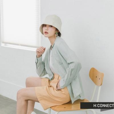 H:CONNECT 韓國品牌 女裝 -純色排釦口袋襯衫-綠
