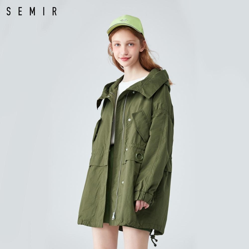 SEMIR森馬-造型翻領連帽軍裝風衣外套-女
