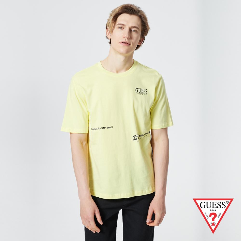 GUESS-男裝-簡約美式文字LOGO個性短T,T恤-黃 原價1390