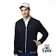 【Lynx Golf】男款素面羅紋配色織條網狀透氣長袖外套-深藍色 product thumbnail 2