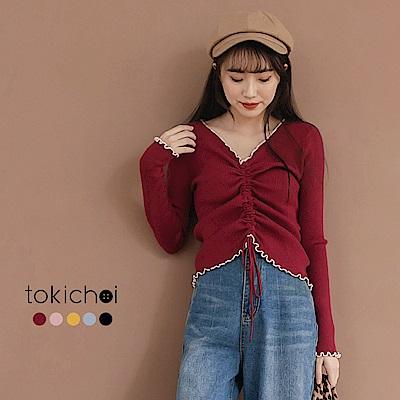 東京著衣 多色微性感V領抽繩坑條羅紋上衣(共五色)