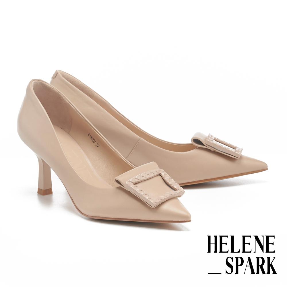 高跟鞋 HELENE SPARK 編織紋烤漆方釦羊皮尖頭高跟鞋-粉