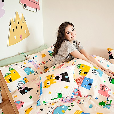 戀家小舖 / 雙人加大床包兩用被套組  Sweet home甜蜜的家 高密度磨毛布  台灣