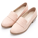 River&Moon樂福 Q軟乳膠粗跟小皮鞋 粉