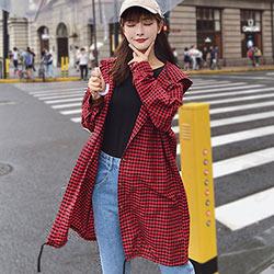 男友風長款格紋連帽外套 (共二色)-Kugi Girl