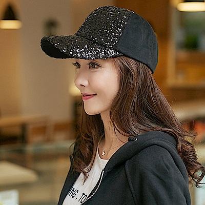 梨花HaNA 低調華麗系列全黑亮片翻面銀色棒球帽