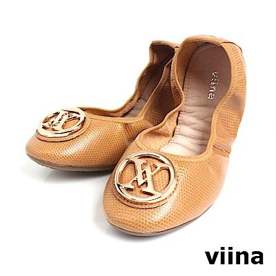 viina 經典款金扣蜥蜴紋摺疊鞋MIT-米膚色