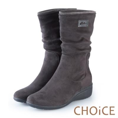 CHOiCE 簡約率性 2穿絨布中筒靴-灰色