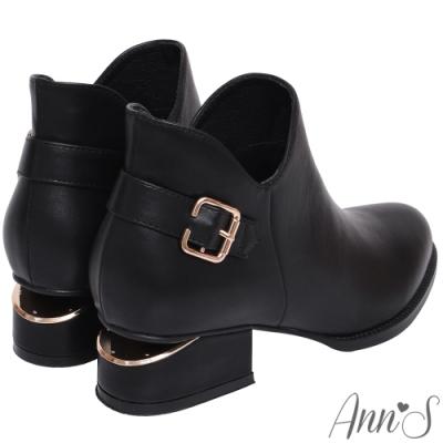 Ann'S 顯瘦側V造型方形扣帶金色切口粗跟短靴-黑