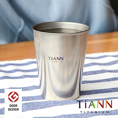 TiANN 純鈦餐具 雙層咖啡杯(原色) 330ml 贈綠杯蓋