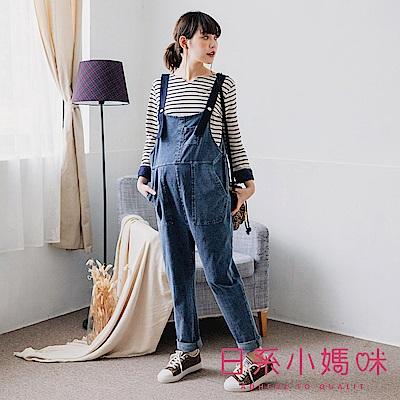 日系小媽咪孕婦裝-孕婦褲~撞色肩帶造型軟牛仔吊帶褲 L-XL