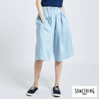 SOMETHING 立體腰摺 七分牛仔褲-女-重漂藍
