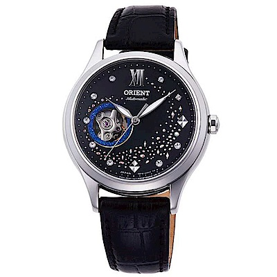 ORIENT閃耀自信水鑽自動上鍊鏤空機械女錶(RA-AG0019B10B)-黑x34mm