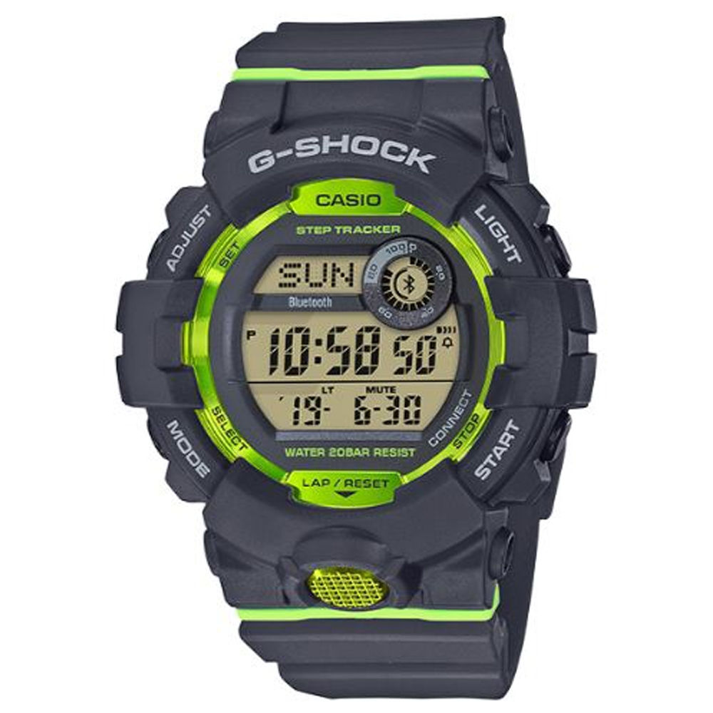 G-SHOCK百搭玩色風格運動計步藍芽錶(GBD-800-8)灰x綠/54.1mm