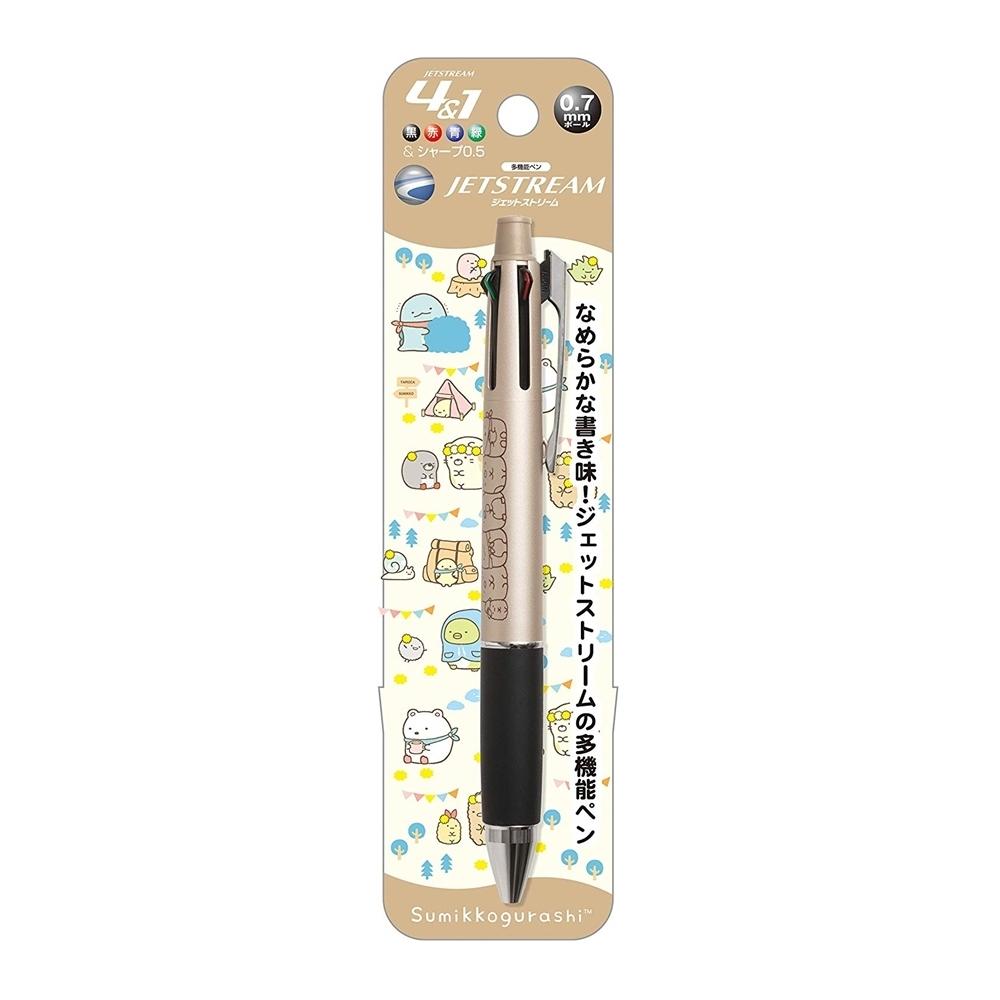 日本製造San-X角落生物UNI JETSTREAM溜溜筆 4+1機能筆PP42系列(4色0.7mm油性原子筆+0.5mm自動鉛筆-角落小夥伴)