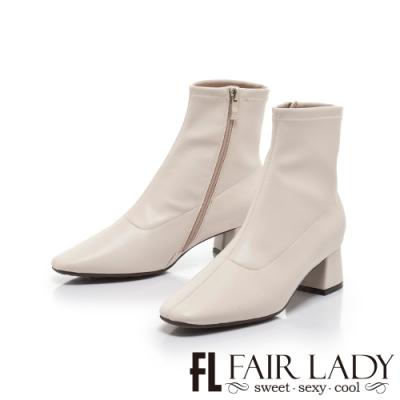 FAIR LADY纖腿對策.彈性素面縫線皮革粗跟靴 米白