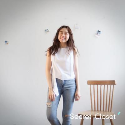 Secret Closet-斜紋不規則無袖上衣-白色