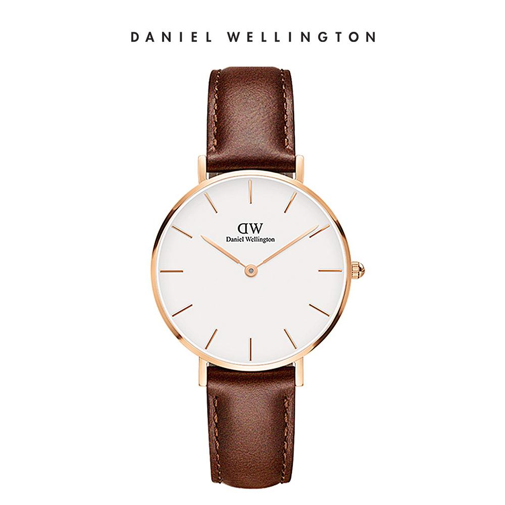【Daniel Wellington】官方直營 手錶 官方旗艦店 32mm玫瑰金框 Petite 棕色真皮皮革錶