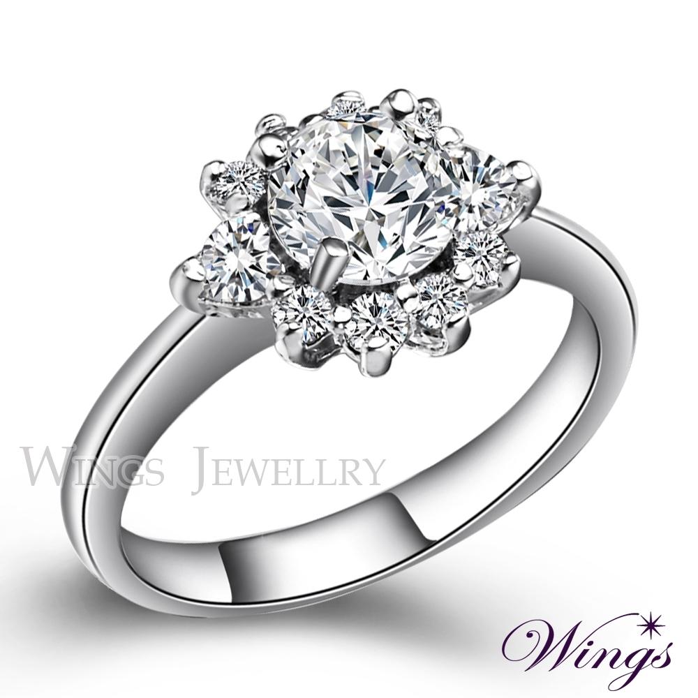 【WINGS】花火 八心八箭閃耀方晶鋯石精鍍白K戒指 聖誕(女戒 鋯鑽 擬真鑽) RW026