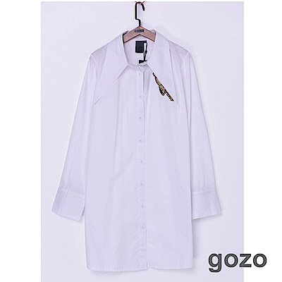 gozo 太空船刺繡尖領襯衫洋裝(二色)