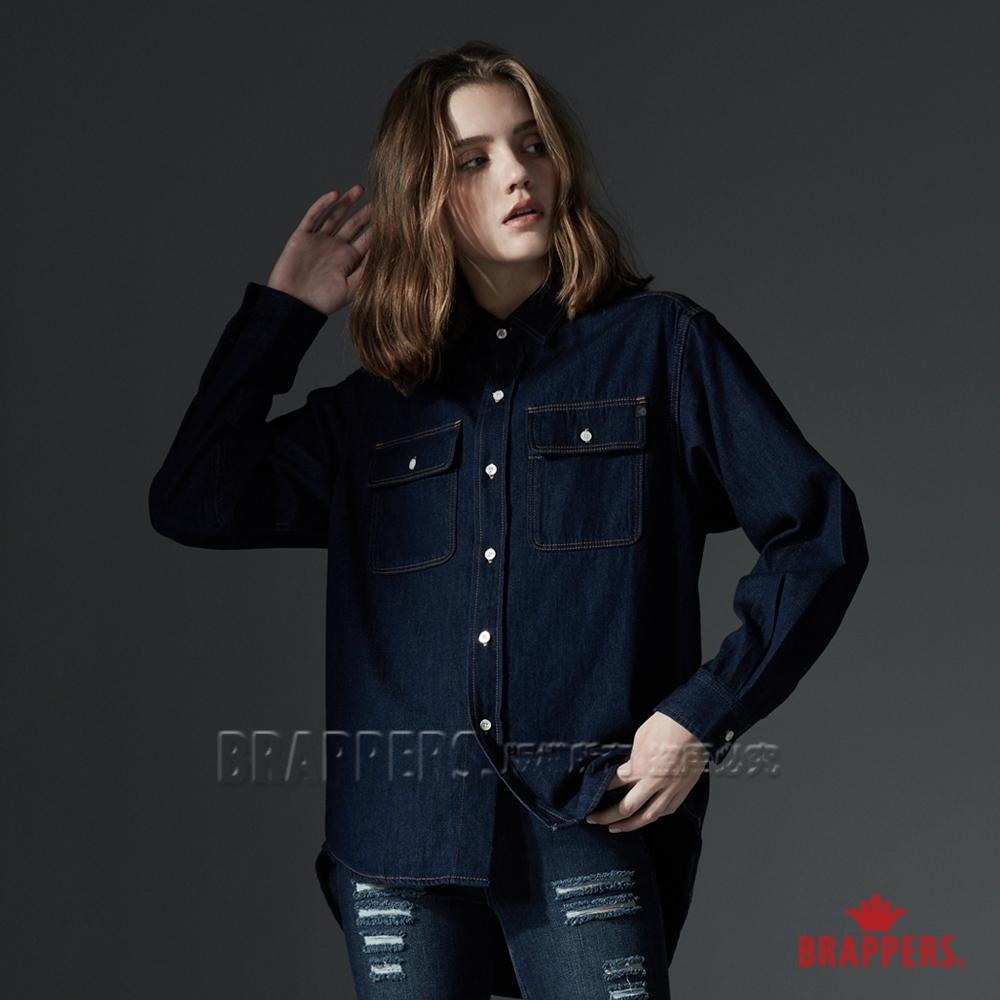 BRAPPERS 女款 寬版牛仔長袖襯衫-藍
