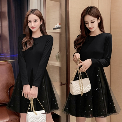 【韓國K.W.】(預購)韓時尚個性簡約網紗洋裝-2色