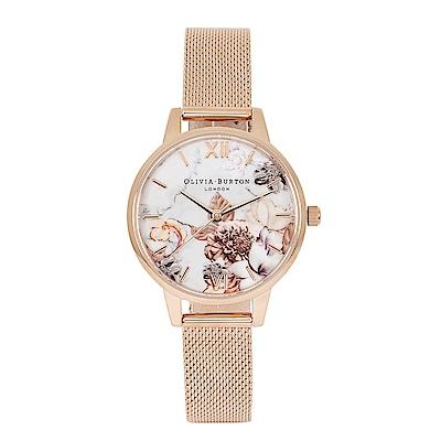 Olivia Burton 英倫復古手錶 大理石花卉紋路 玫瑰金屬米蘭錶帶30mm