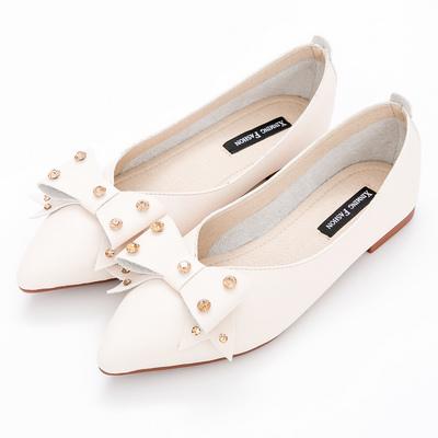 River&Moon中大尺碼-晶鑽朵結超纖Q軟橡膠平底尖頭鞋-杏
