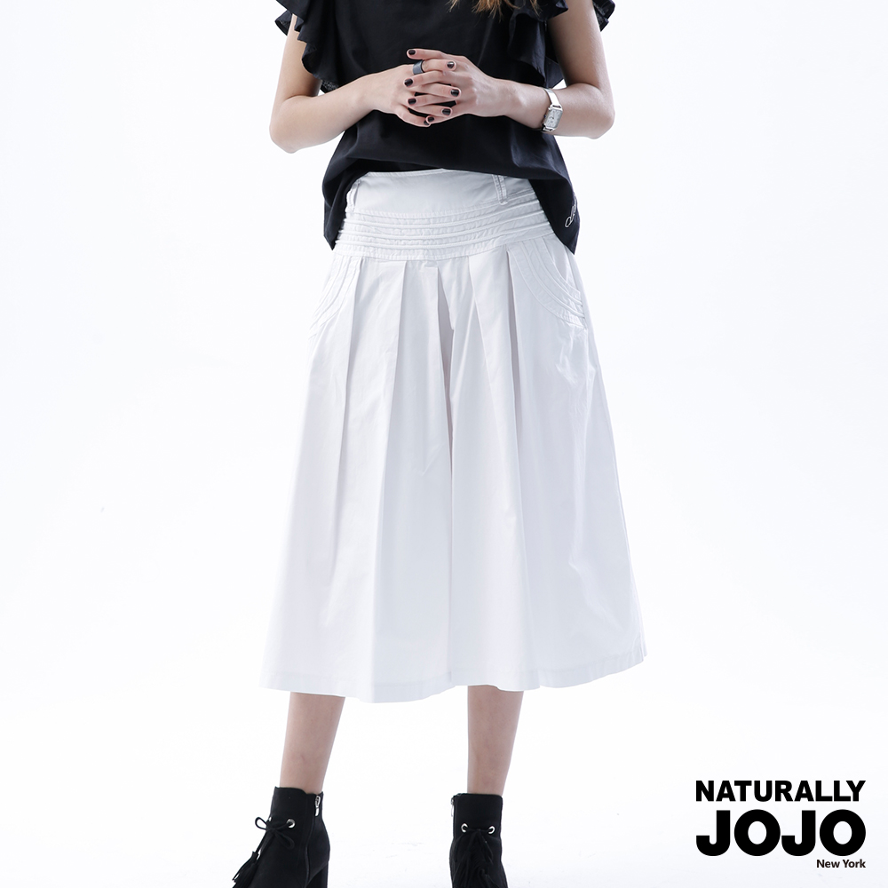 【NATURALLYJOJO】簡約壓線寬口褲 (白)