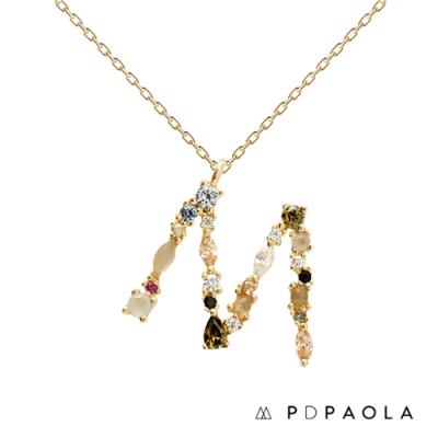PD PAOLA 西班牙輕奢時尚品牌 字母M 彩鑽寶石項鍊