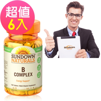 Sundown日落恩賜 每日綜合B群RDV錠x6瓶(100錠/瓶)