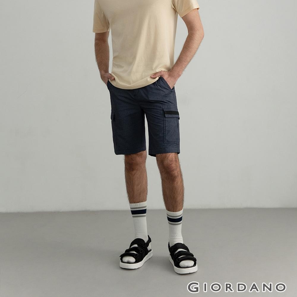 GIORDANO 男裝工裝風卡其休閒短褲 - 96 標誌海軍藍白