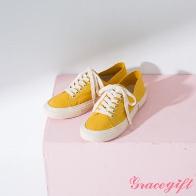 Grace gift-帆布綁帶2WAY休閒鞋 黃