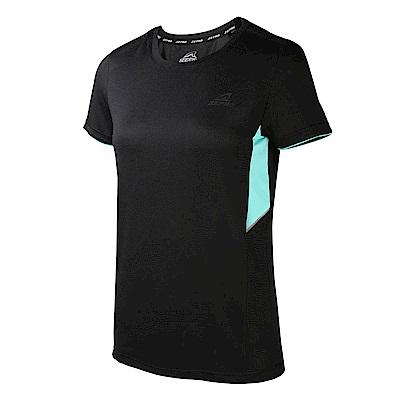 【ZEPRO】女子素面拼接運動短袖上衣-黑色