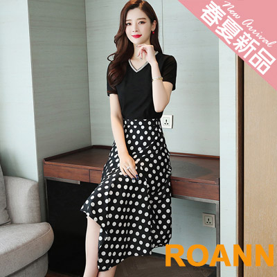 V領上衣+不規則點點長裙兩件套 (黑色)-ROANN