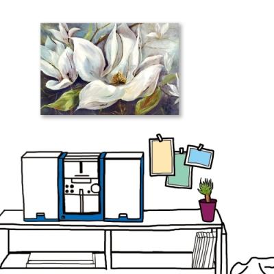 24mama掛畫-單聯式 藝術裝飾 白色花卉 油畫風無框畫 60X40cm-冬夜白花2