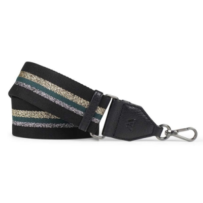 MARKBERG Finley 丹麥手工時尚編織寬版肩揹帶 (銀綠黑)