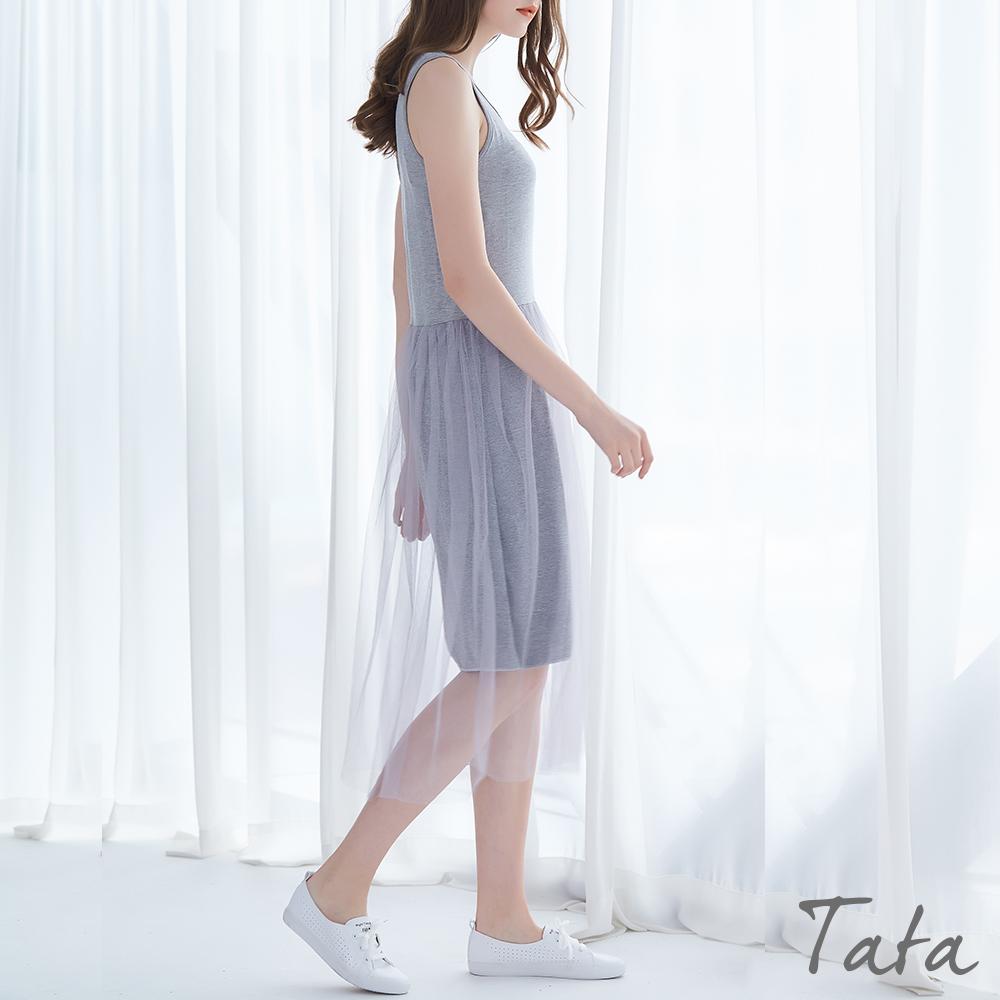 拼接網紗背心洋裝 共三色 TATA