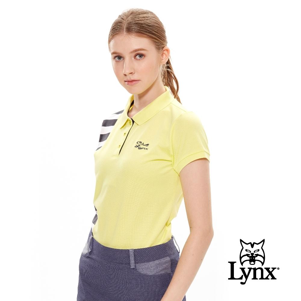 【Lynx Golf】女款側邊黑白線條刺繡logo短袖POLO衫-黃色