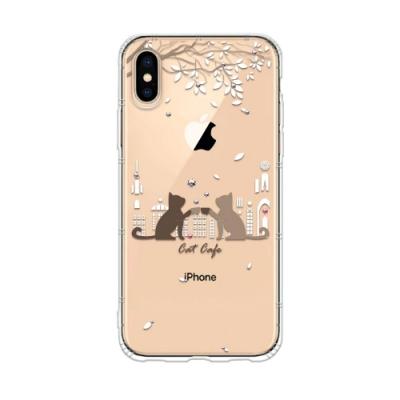 Corner4 iPhone XS / iPhone X 奧地利彩鑽防摔手機殼-午茶貓咪