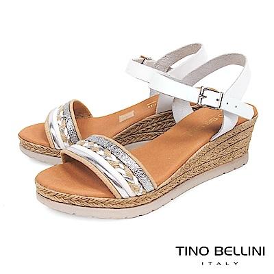 Tino Bellini 西班牙進口異材質編織繫踝楔型涼鞋 _ 白