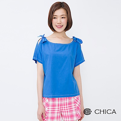 CHICA 甜漾夏日開肩船型領設計上衣(3色)