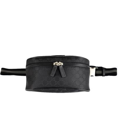 GUCCI GG 黑色尼龍布皮革標誌兩用斜背腰包