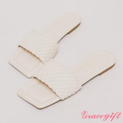 Grace gift-編織寬帶平底涼拖鞋 米白