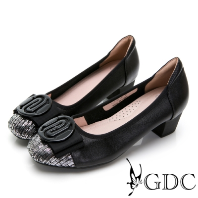 GDC-真皮編織拼接撞色蝴蝶結金屬感低跟包鞋-黑色